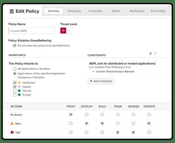 Faites appliquer votre politique avec Nexus Lifecycle
