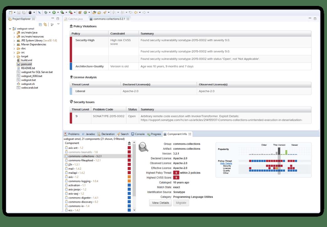 Des informations sur l'open source dans l'IDE